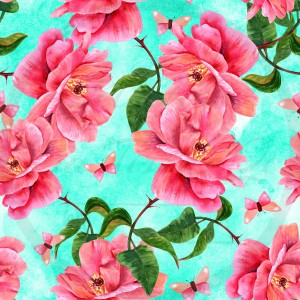 Jersey / Knit / Sélection Isa Tissus / Fleurs roses et papillons roses, fond turquoise