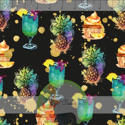 Design isa tissus Qc / Ananas watercolor, drink, cupcake, gâteau, fond noir