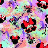 Coton / Licence / Minnie Mouse, lunettes, boucle, rouge, ballon, multicolor, watercolor