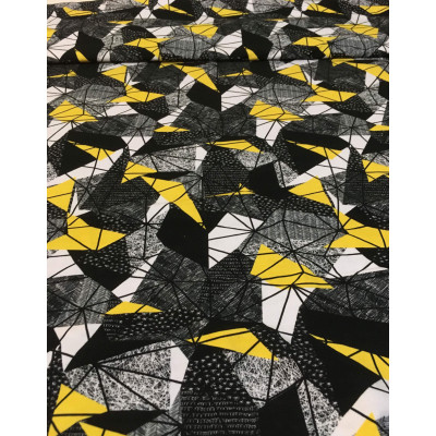 Coton / Selection Isa tissus Qc / Forme farfelu, noir / gris, triangle jaune fond blanc