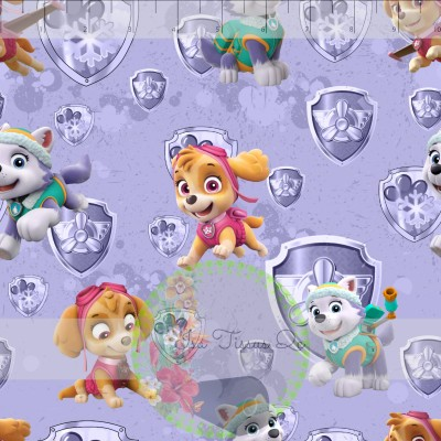DBP / Double Brush Poly / Licence / Pat patrouille, Paw patrol, personnages, fond mauve