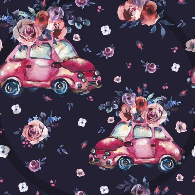 French terry / Selection Isa tissus Qc / Beattle, auto, voiture, fleurs, watercolor, feuille, rose, fond noir Gros design