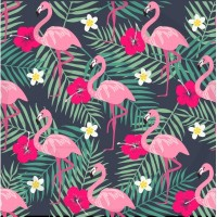 DBP / Double Brush Poly / Flamant rose,fleur rose/blanche,feuille verte-fond gris