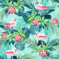 DBP / Double Brush Poly / Flamant rose,fleur rose,feuille bleu/verte,fond bleu