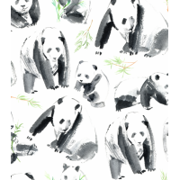 Coton / Selection Isa tissus Qc / panda watercolor