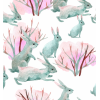 Selection Isa tissus Qc / hiver / lapin fond blanc watercolor