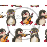 Selection Isa tissus Qc / BB Pingouins MUSIQUE/LUNETTES fond blanc