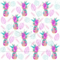 Design Stefy artiste-peintre / Ananas watercolor multicolore, feuille, fond blanc