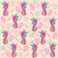 Design Stefy artiste-peintre / Ananas watercolor multicolore, feuille, fond pêche