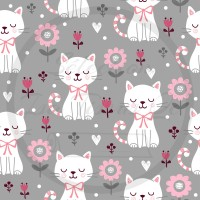 Minky / Selection Isa tissus Qc / Chats blancs, fleurs roses, fond gris