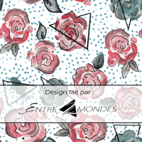 Design Atelier entre 2 mondes / Roses, triangles, pois bleus, watercolor, fond blanc