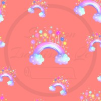 Design isa tissus Qc / arc en ciel, nuage, ballon, brillant, watercolor fond Corail