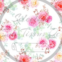 Selection Isa tissus Qc / Fleur rose/orange, fond blanc