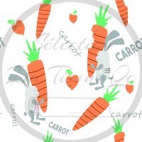 Selection Isa tissus Qc / Carrot, Lapins gris avec carotte, fond blanc