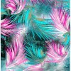 Selection Isa tissus Qc / Feuille fine watercolor turquoise et rose