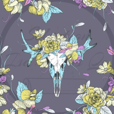 Selection Isa tissus Qc / buck skull turquoise blanc fleurs jaune rose mauve blanche fond gris