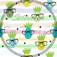 Coton / Selection Isa tissus Qc / Ananas, lunettes, ligné multicolore, fond blanc
