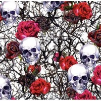 Coton / Selection Isa tissus Qc / Tête de mort, skull, rose rouge, racine, branches, fond blanc