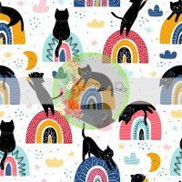 French terry imprime / Arc-en-ciel, rainbow, chat noir, lune nuage, formes