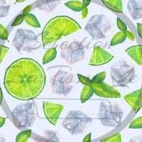 Selection Isa tissus Qc / Lime, mojito, menthe, glace, fond blanc