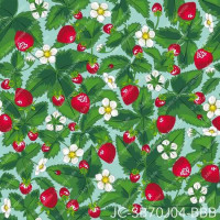 Design Julie Carpentier / Fraises fond bleu