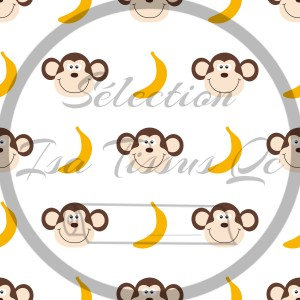 Selection Isa tissus Qc / Singes, bananes, fond blanc