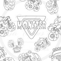 À Colorier / Coton Canvas / Selection Isa tissus Qc / Monster Truck